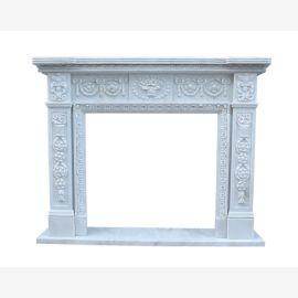 Cheminee en marbre de la façade de cheminee de style cheminees de classicisme blanc, cheminee entourent cadrage
