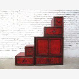 Chine petits escaliers brun commode tiroirs des deux cotes ouvrants dans de nombreuses pentes