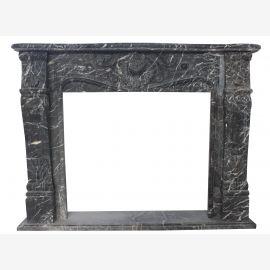 Einfassung KAMIN 150 x 120 cm Marmor massiv Farbe schwarz