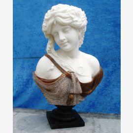 Sculpture femme buste en marbre blanc et brun piédestal classique