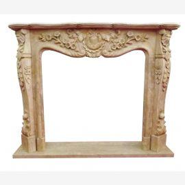 Cheminée en marbre de couleur sable bordure 150x120cm Baroque Rococo style antique D He 13,