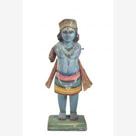 Hoelzerne Krishna Statue 1940 Skulptur Kerala