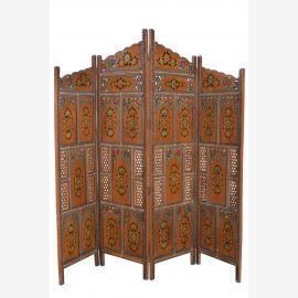 Large, écran en bois avec peinture indienne