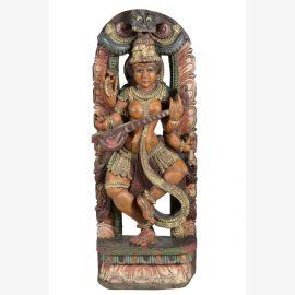 Statue en bois indienne peinte colorée