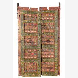 Porte en bois peinte du Rajasthan