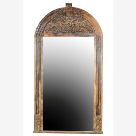 Inde 1950 grand miroir bien Gujarat Schnitzrahmen massif