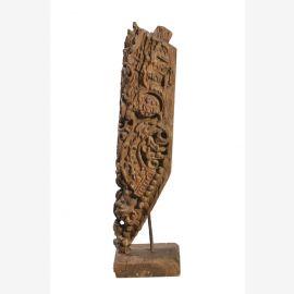 """Inde vers 1950 la sculpture fine sculpté sur le stand de teck par le """"Luxury-Park"""""""