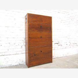 Chine brun foncé couloir commode armoire à chaussures anciennes poussées latérales en bois dans la tête de lit