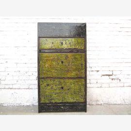 Asie couloir commode armoire à chaussures saleté fronts vert finition lourde de bois cru utilisé