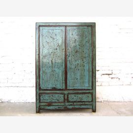 Chine grunge placard commode bleu petit placard Shabby regarder bois lourd utilisé