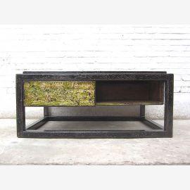 Asie base de table en pin noir et vert shabby chic