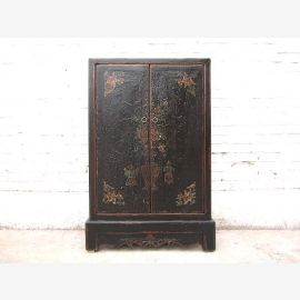 Chine mi-hauteur mince CD-commode Cabinet pin noir