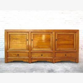 Chine large Buffet commode brune de pin rustique naturelle