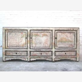 Chine large tache Buffet commode shabby chic de pin blanc