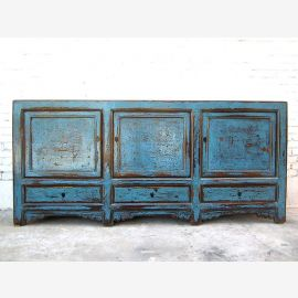Asie large Buffet commode 200cm de shabby chic antique d'azur