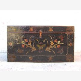 Chine coffre mariage magnifique peinture noire Antique bois