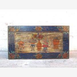 Asie coffre mariage cadre bleu peinture décorative colorée pin millésime