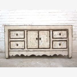 Chine petite Lowboard Chest blanc antique look vintage pin