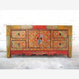 Chine peintes de couleurs vives commode Lowboard folklore regard de pin