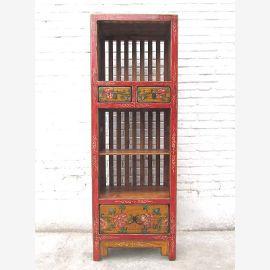Chine étroit plateau tour motifs rustiques sur le pin rouge-brun