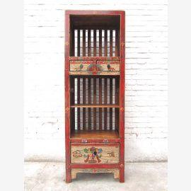 Asie rustiques étagère tour motifs lumineux sur le pin rouge-brun