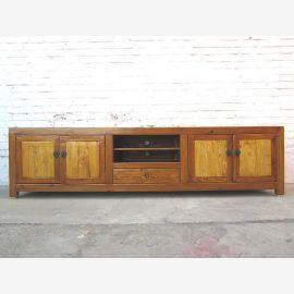 Asie grande Lowboard TV commode pour plat bois cru brun clair deux tons