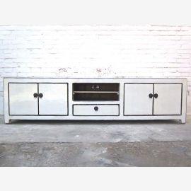 Asie très large Lowboard peinture télévision commode pin blanc lumineux