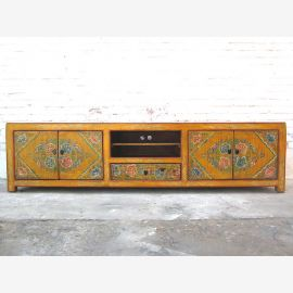 Chine pin large Lowboard TV commode folklorique peint