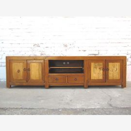 Chine TV commode brun naturel Lowboard Flat Panel deux tons finition bois cru