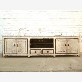Asie TV commode Lowboard Flat Panel bois massif de style vintage blanc antique