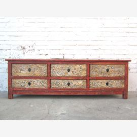 Chine TV commode Lowboard brun corpus Flat Panel six tiroirs peints de couleurs vives anciennes