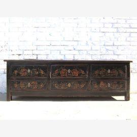 Asie brillante TV noir commode Lowboard Flat Panel bois dur decores classique
