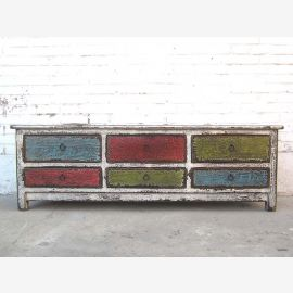 Chine bois Lowboard Flat Panel multicolor vintage TV commode coloré