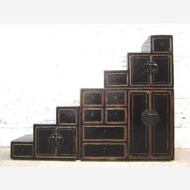 Chine entra Chest escalier vintage placard sous inclinaisons en bois laqué noir