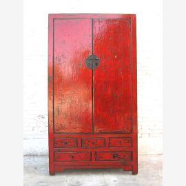 Asie armoire haute brun rougeâtre fini antique en bois de pin