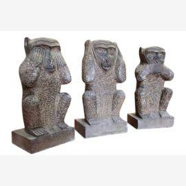 Chine 3 trois singes sculpture sculptures de granit de 70 80J