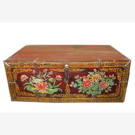 Chine 1930 poitrine plate boîte en bois massif peinture typique coloré