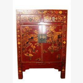 Chine poitrine de chevet tiroirs et les portes peint classique