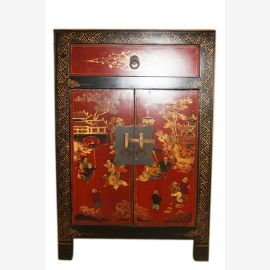 Chine 1950 petit coffre peint de tiroirs portes d'armoires de chevet avec classique