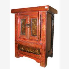 Chine 1880 petite commode table de chevet avec 2 portes antiques
