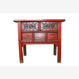 Chine 1910 de forme classique poitrine peinte amende de tiroirs commode