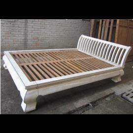 Asie lit double plat blanc antique cru 222x179x35cm élégant en bois