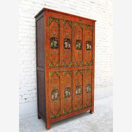 Très rare peinture Armoire haute Tibet, Chine, 1930 pin massif D BT.1