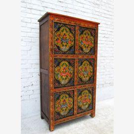 Chine TIBET 1930 Great grande planche de pin de poitrine haute de tiroirs armoire ancienne peinture D BT.26