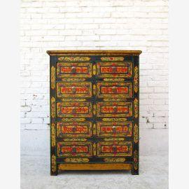 Chine Thibet 1920 10 tiroirs de haut bord haut de la poitrine peinte pin D BT.55