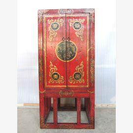 Tibet Barschrank Halbhoch auf Gestell Massivholz rot