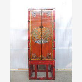 Tibet Asia Schrank schmal auf Gestell Massivholz roetlich Motivbemalung