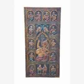 Ganesha, belle porte du panneau décoratif sculpté à la main à partir de l'Inde