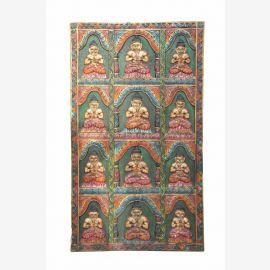 INDE Bhoutan sculpté panneau de porte en bois avec 12 anciennes motifs de Bouddha D ED 11-47