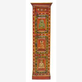 Indien hoher schlanker Schrank Saeule rot-gold bemalte Kassettenfront Buddhamotive